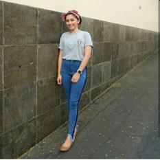 Harga Highwaist Punny Stripe Jeans Jeans Baru