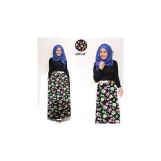 [Hijab Black Flowy VL] Setelan Muslim Wanita Katun Bunga