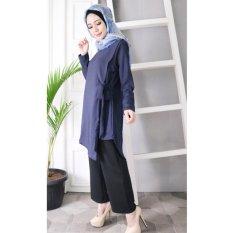 Hijab Dafa Baju Atasan Muslim Wanita Model Tunik Bahan Premium - Navy