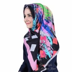 Hijab Dafa Pashmina Bunga Hijab Satin Segi Empat Jilbab Motif Abstrak Kombinasi Bahan Satin Motif H 02