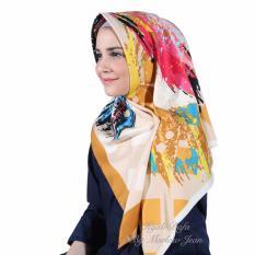 Hijab Dafa Pashmina Bunga Hijab Satin Segi Empat Jilbab Motif Abstrak Kombinasi Bahan Satin Motif H 04