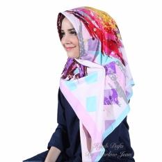 Hijab Dafa Pashmina Bunga Hijab Satin Segi Empat Jilbab Motif Abstrak Kombinasi Bahan Satin Motif H 05