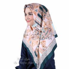 Hijab Dafa Pashmina Bunga Hijab Satin Segi Empat Jilbab Motif Bunga Kombinasi Bahan Satin Motif C - Krem Hijau