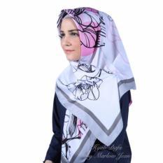 Hijab Dafa Pashmina Bunga Hijab Satin Segi Empat Jilbab Motif Bunga Kombinasi Bahan Satin Motif G - Pink Abu Abu
