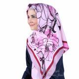 Jual Hijab Dafa Pashmina Bunga Hijab Satin Segi Empat Jilbab Motif Bunga Kombinasi Bahan Satin Motif G Pink Ungu