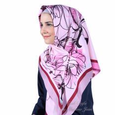 Beli Hijab Dafa Pashmina Bunga Hijab Satin Segi Empat Jilbab Motif Bunga Kombinasi Bahan Satin Motif G Pink Ungu Hijab Dafa By Marlow Jean Asli