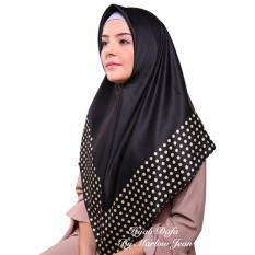 Hijab Dafa Pashmina Bunga Hijab Satin Segi Empat Jilbab Motif Bunga Kombinasi Bahan Satin Seri Warna Hitam Emas - Golden Silk J