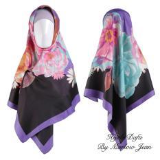Hijab Dafa Pashmina Bunga Hijab Satin Segi Empat Jilbab Motif Bunga Kombinasi Bahan Satin Motif Flower 2 - Ungu
