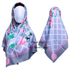 Hijab Dafa Pashmina Bunga Hijab Satin Segi Empat Jilbab Motif Bunga Kombinasi Bahan Satin Motif Flower TS1 - Abu Abu