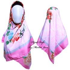Hijab Dafa Pashmina Bunga Hijab Satin Segi Empat Jilbab Motif Bunga Kombinasi Bahan Satin Motif Flower TS1 - Pink