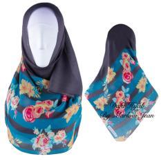 Hijab Dafa Pashmina Bunga Hijab Scraf Jilbab Motif Bunga Kombinasi Bahan Poly Turkey Turkish Motif 1 - Hitam