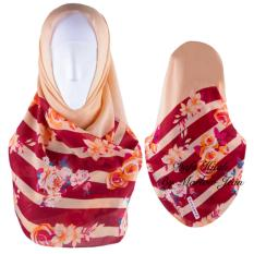 Hijab Dafa Pashmina Bunga Hijab Scraf Jilbab Motif Bunga Kombinasi Bahan Poly Turkey Turkish Motif 1 - Krem