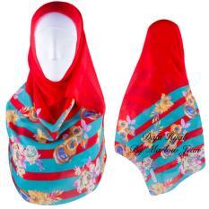 Hijab Dafa Pashmina Bunga Hijab Scraf Jilbab Motif Bunga Kombinasi Bahan Poly Turkey Turkish Motif 1 - Merah Kombinasi Hijau