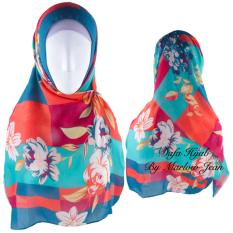 Hijab Dafa Pashmina Bunga Hijab Scraf Jilbab Motif Bunga Kombinasi Bahan Poly Turkey Turkish Motif 2 - Hijau