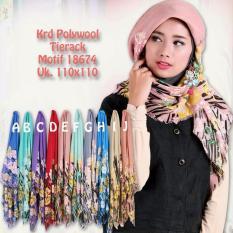Hijab Jilbab Kerudung Tierack Polywool Motif 110 X 110 Cm Tierack Diskon