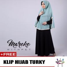 Hijab Jilbab Khimar Maroko Withpet Biru Free Klip