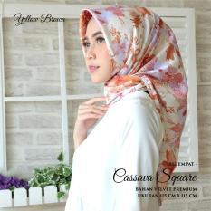 Spesifikasi Hijab Kananta Jilbab Segiempat Hijab Motif Bunga Warna Kain Velvet Premium Maxmara Halus Tebal Tidak Nerawang Square Cassava Merk Kananta