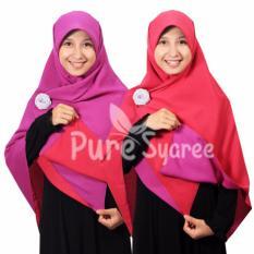Toko Hijab Kerudung Segi Empat Hijab Syari Boak Balik Pure Syaree Ungu Muda Magenta Lengkap
