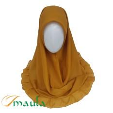 Hijab Maula Jilbab Kerudung Segiempat Rempel Katun - Mustard