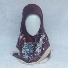Hijab Maula Jilbab Segiempat Umama Kerudung Velvet Motif 11 - Coklat Tua
