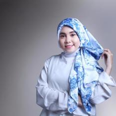 Spesifikasi Hijab Maxmara Premium White Blue Flower Paling Bagus