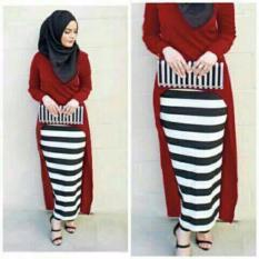 Spek Hijab Monika Jersey Stripe Set 3In1 Maroon
