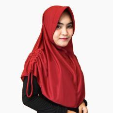 Hijab Najwa PAD/PED Serut Jilbab Instan Kerudung Khimar Instan - Maroon