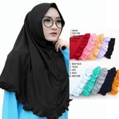 Hijab Rempel Lipit - Kerudung Jilbab Instan Rempel Polos - Hijab Instan Kaos Katun Rempel
