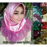 Harga Hijab Segiempat Rempel Brokat Satin Asli Hand Made