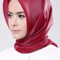 Hijab Square Kerudung Segi Empat Organza Polos Red Maroon Murah