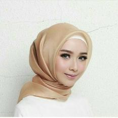 Promo Hijab Square Kerudung Segi Empat Organza Polos Soft Brown Hijab