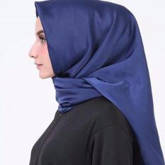 Hijab Square Kerudung Segi Empat - Satin Polos - Blue