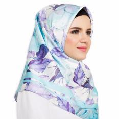 Hijabstore - Angel Lelga Original Scarf  AL 096 - Putih Motif Daun