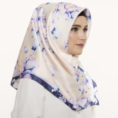 Hijabstore - Angel Lelga Original Scarf AL 223 - Cream Blue Floral Floral Graphic