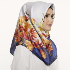 Hijabstore - Angel Lelga Original Scarf AL 225 - Grey Navy Orange Floral