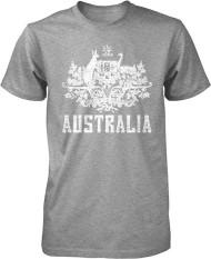 Panggul Hop Australia Mantel dari Arms South Wales Victoria Queensland Kustom Modis Kausal Katun Pria Lengan Pendek Leher-o T Kaus grey-Internasional