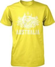 Panggul Hop Australia Mantel dari Arms South Wales Victoria Queensland Kustom Modis Kausal Katun Pria Lengan Pendek Leher-o T Kaus kuning-Internasional