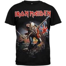 Panggul Hop Iron Maiden Trooper Bendera Inggris Kustom Modis Kausal Katun Pria Lengan Pendek Leher-o T Kaus Hitam-Internasional