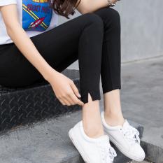 Wanita Kulit Hitam Lee Jeans Bagian Tipis Celana Pensil Legging (Hitam-Khaki Rok Slit)