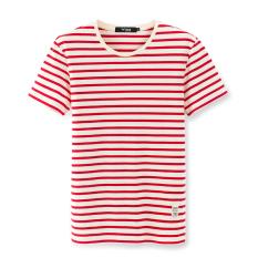 Hitam atau White Merah dan Korea Modis Gaya Panas Musim Ramping Leher Bulat Baju Gaya Pelaut Kaus (Lengan Lengan Bergaris -Merah dan Putih (Parsial Mati-Putih))