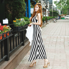 Rok Pantai Pantai Dress Tanpa Lengan Hitam Dan Putih Slim Terlihat Langsing (F1318 hitam) baju wanita dress wanita Gaun wanita