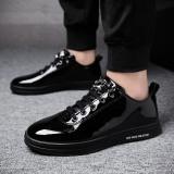 Promo Toko Sepatu Panel Kulit Paten Bertali Santai Pria Hitam Gaya Korea Hitam Hitam