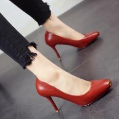 Hitam Modis Logam Musim Semi Baru Tebal With Sepatu Tumit Berkepala Persegi Sepatu Wanita (Bata Merah)
