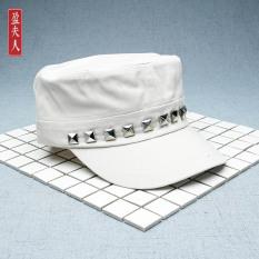 Topi Truk Topi Perempuan Topi Korea Modis Gaya Hitam (Lapisan Tunggal Paku Keling Mati-Putih)