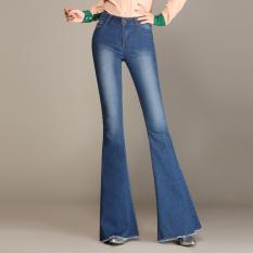 Tambah Beludru Hitam Perempuan Terlihat Langsing Celana Cutbray Sedikit Mirip Terompet Denim Celana (Denim Biru) baju Wanita Celana Wanita Celana Jeans Wanita