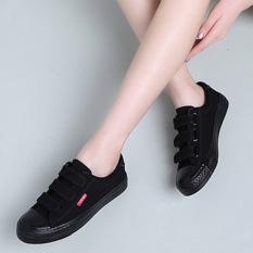 Hitam Perempuan Sepatu Kerja Velcro Kanvas Sepatu (Hitam)