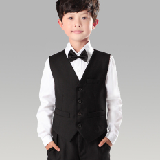 Hitam Polos Anak Laki-Laki Setelan Formal Vest Jas Rompi (Hitam (One-Piece Rompi))