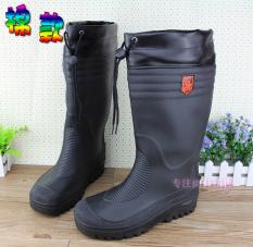 Hitam Ukuran Besar Pria Lokomotif Overshoes Ukuran Panjang Sepatu Boots Hujan (Hitam)