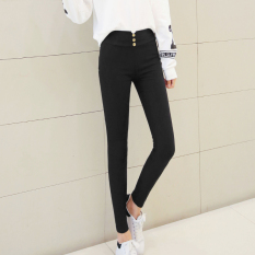Korea Fashion Style Hitam Musim Gugur Bagian Tipis Legging Hitam Hitam Baju Wanita Celana Wanita Oem Diskon