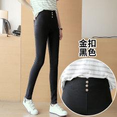 Jual Yayangren Celana Dasar Wanita Ditambah Beludru Pinggang Tinggi Elastis Hitam Online Tiongkok